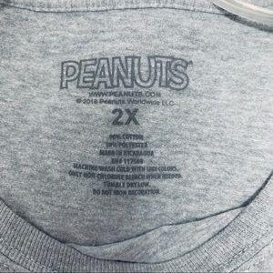Peanuts Tops - Snoopy Crop T-Shirt Gray Size 2X